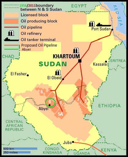 Рис. 4. Инфраструктура и объекты нефтедобычи в Республике Судан и Южном Судане